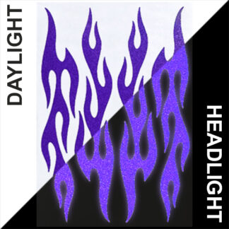 876 Reflective Flame Decal Set by Seward Street Studios, shown in purple in daylight and under headlights