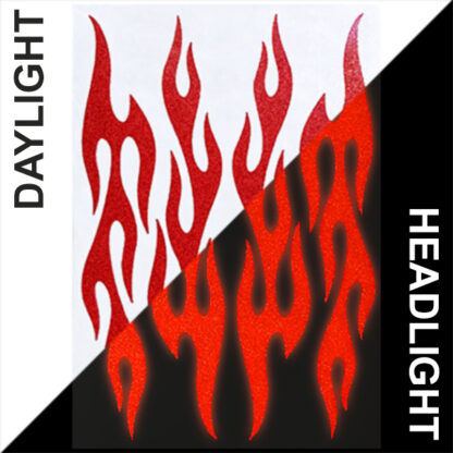 876 Reflective Flame Decal Set by Seward Street Studios, shown in red in daylight and under headlights