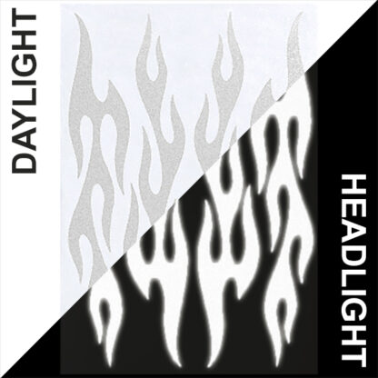 876 Reflective Flame Decal Set by Seward Street Studios, shown in white in daylight and under headlights