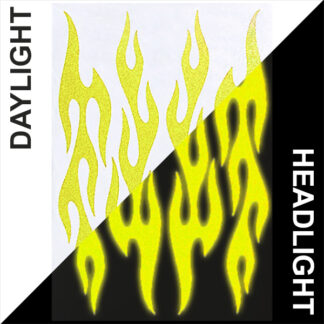 876 Reflective Flame Decal Set by Seward Street Studios, shown in yellow in daylight and under headlights