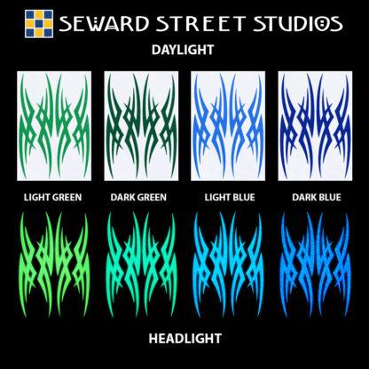 Hyper Reflective Tribal Decal Set - Light Green, Dark Green, Light Blue, Dark Blue