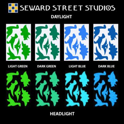 Hyper Reflective Dinosaur Decal Set - Light Green, Dark Green, Light Blue, Dark Blue