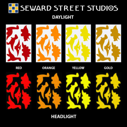 Hyper Reflective Dinosaur Decal Set - Red, Orange, Yellow, Gold