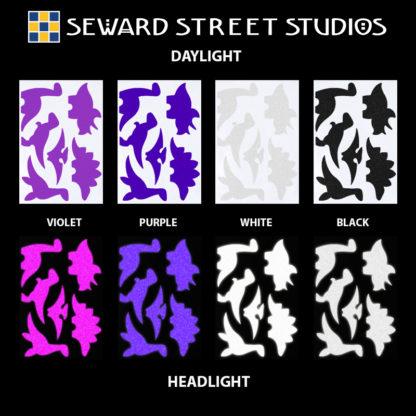 Hyper Reflective Dinosaur Decal Set - Violet, Purple, White, Black