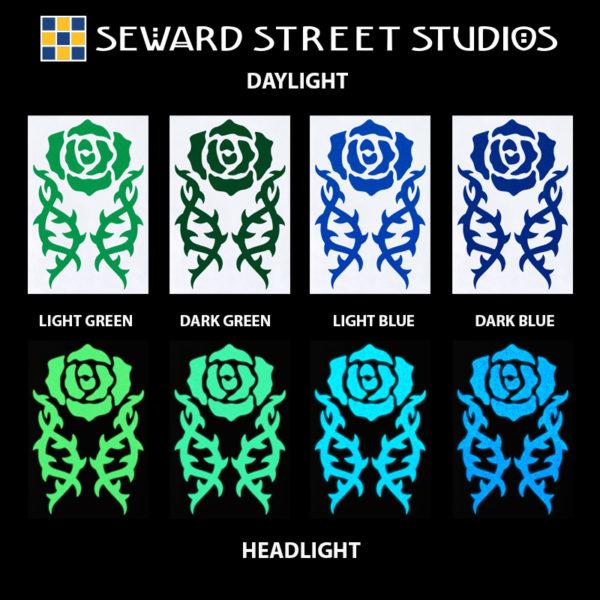 Hyper Reflective Tribal Rose Decal Set - Light Green, Dark Green, Light Blue, Dark Blue
