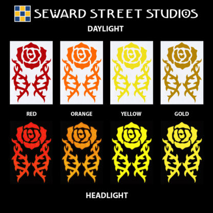 Hyper Reflective Tribal Rose Decal Set - Red, Orange, Yellow, Gold