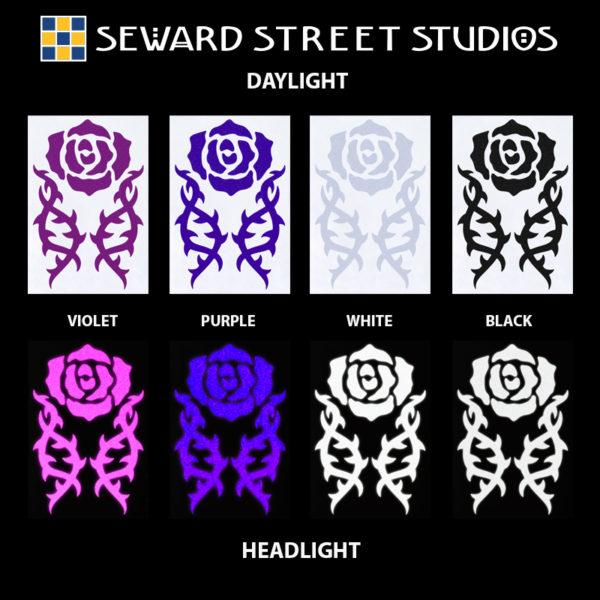 Hyper Reflective Tribal Rose Decal Set - Violet, Purple, White, Black