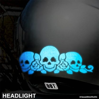 Blue Reflective Skulls and Roses Decal Set