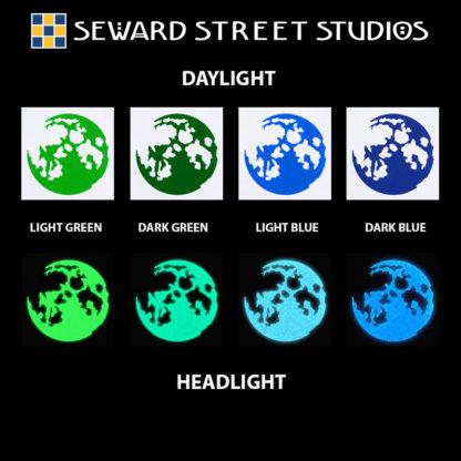 Hyper Reflective Moon Decal - Light Green, Dark Green, Light Blue, Dark Blue