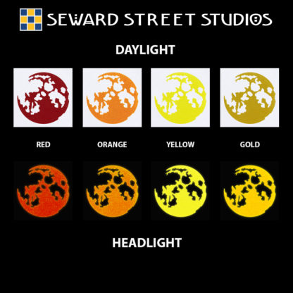 Hyper Reflective Moon Decal - Red, Orange, Yellow, Gold