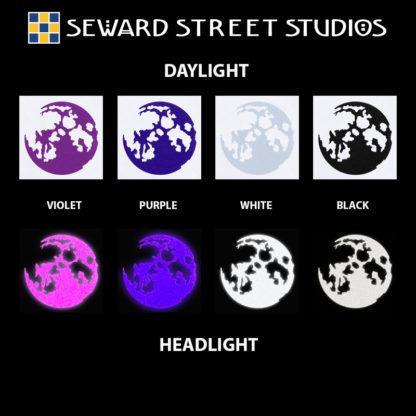 Hyper Reflective Moon Decal - Violet, Purple, White, Black