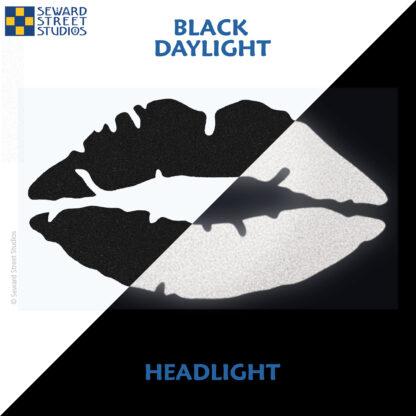 992 Black Reflective Lips Decal by Seward Street Studios showing both daylight and headlight lighting
