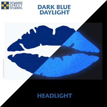 992 Dark Blue Reflective Lips Decal by Seward Street Studios showing both daylight and headlight lighting