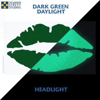 992 Dark Green Reflective Lips Decal by Seward Street Studios showing both daylight and headlight lighting
