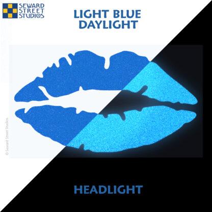 992 Light Blue Reflective Lips Decal by Seward Street Studios showing both daylight and headlight lighting