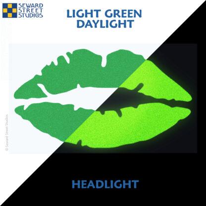 992 Light Green Reflective Lips Decal by Seward Street Studios showing both daylight and headlight lighting