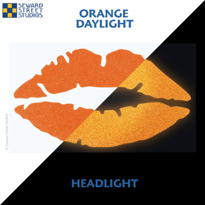 992 Orange Reflective Lips Decal by Seward Street Studios showing both daylight and headlight lighting