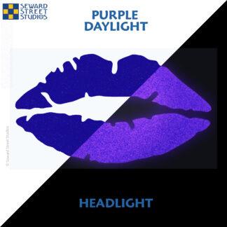 992 Purple Reflective Lips Decal by Seward Street Studios showing both daylight and headlight lighting