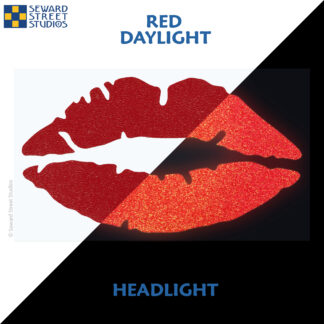 992 Red Reflective Lips Decal by Seward Street Studios showing both daylight and headlight lighting