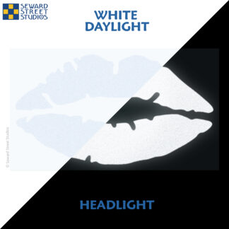 992 White Reflective Lips Decal by Seward Street Studios showing both daylight and headlight lighting