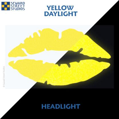 992 Yellow Reflective Lips Decal by Seward Street Studios showing both daylight and headlight lighting