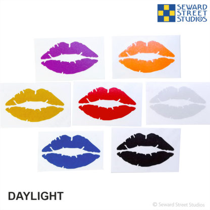 7 colors of Hyper Reflective Lips decals in daylight