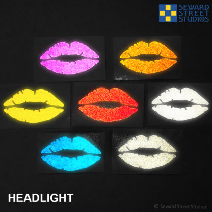7 colors of Hyper Reflective Lips decals in headlights