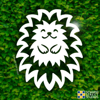 803 Seward Street Studios Hedgehog Vinyl Decal. Shown on a hedge background