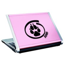 Seward Street Studios Dog Inside Vinyl Decal. Shown on a pink laptop.