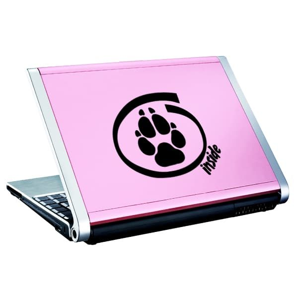 Seward Street Studios Dog Inside Vinyl Decal. Shown on a pink laptop.