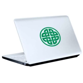 Seward Street Studios Celtic Knotwork Circle Vinyl Decal. Shown on a white laptop.