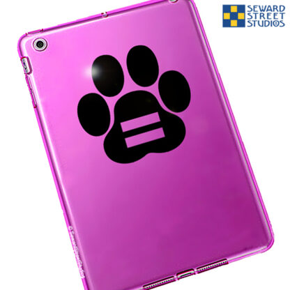 Seward Street Studios Equality Paw Print Vinyl Decal. Shown on a pink tablet.