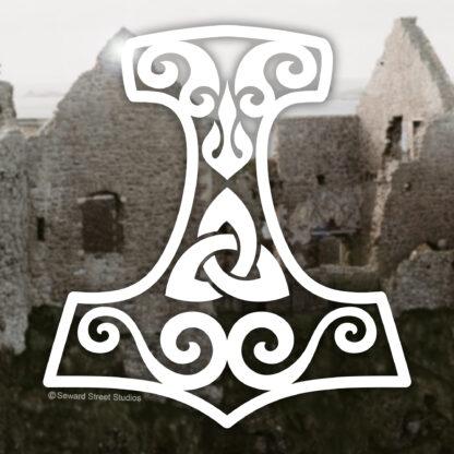 Seward Street Studios Thor's Hammer Mjolnir Vinyl Decal. Shown on a castle background