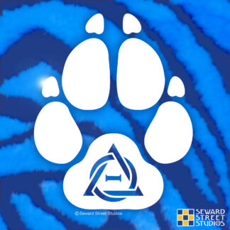 Seward Street Studios Therian Furry Paw Print Vinyl Decal. Shown on a Blue fur background