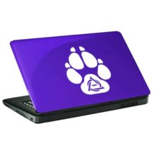 Seward Street Studios Therian Paw Print Vinyl Decal. Shown on a blue laptop.