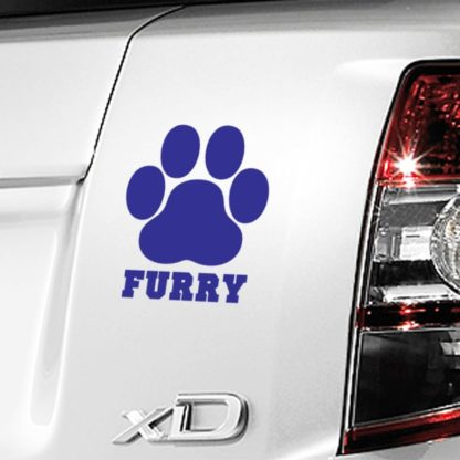 Furry Paw Print Vinyl Decal