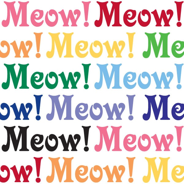 Seward Street Studios Meow Vinyl Decal. Shown in several different colors.