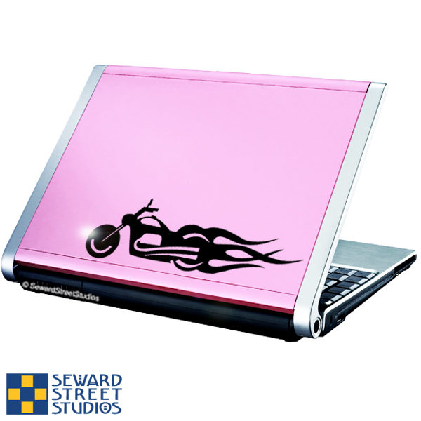 Seward Street Studios Flaming Motorcycle Vinyl Decal