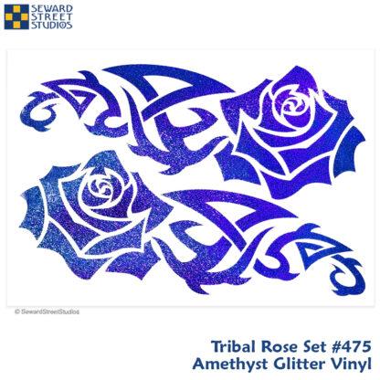 475 Seward Street Studios Tribal Rose Vinyl Decal Set. Shown in Amethyst Glitter Vinyl