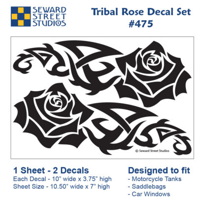 475 Seward Street Studios Tribal Rose Vinyl Decal Set. Shown on a sheet with dimensions