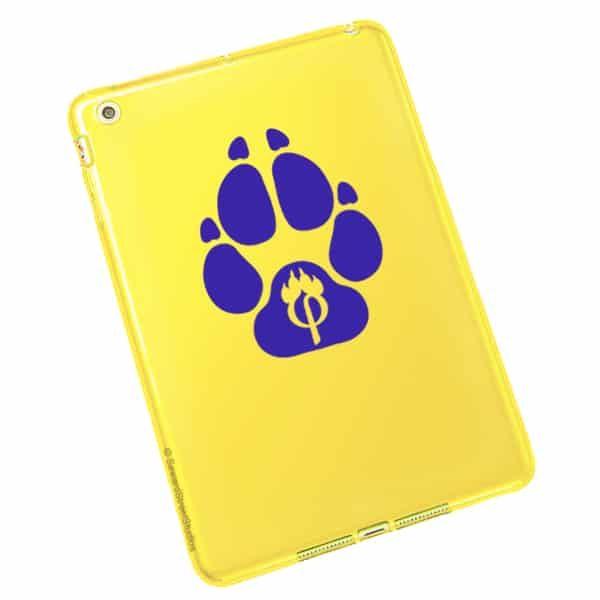 Seward Street Studios Phipaw Paw Print Vinyl Decal. Shown on a yellow tablet.