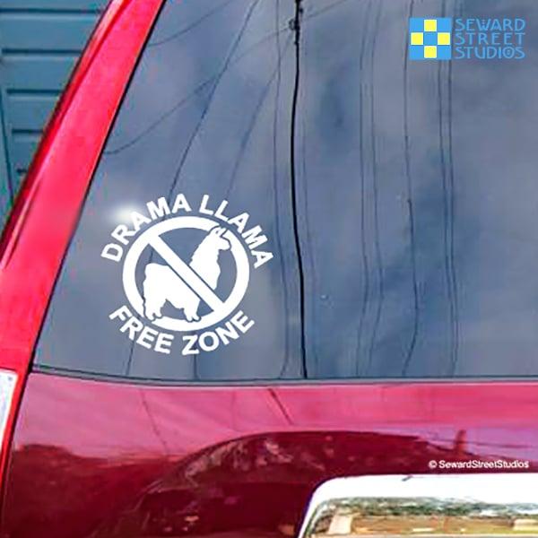Drama Llama Free Zone Vinyl Decal