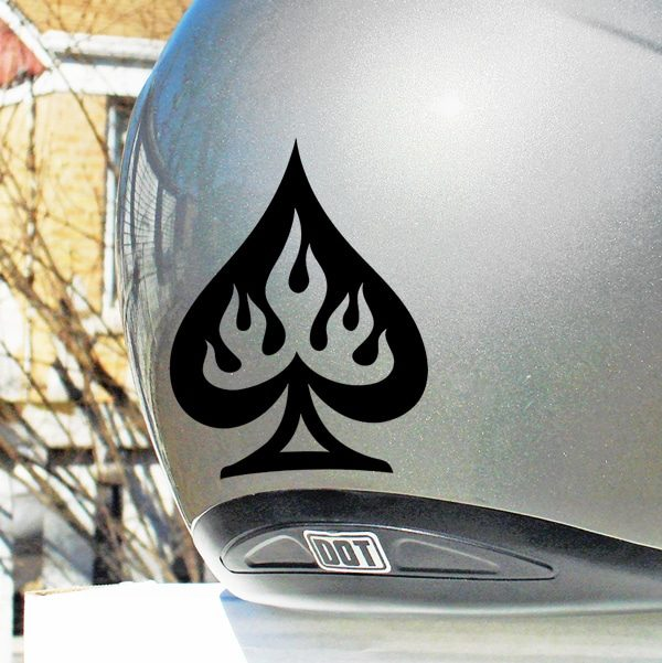 Hyper Reflective Flaming Spade Decal