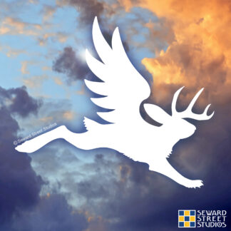 1123 Seward Street Studios Flying Jackalope Vinyl Decal. Shown on a sky background