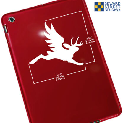 1123 Seward Street Studios Flying Jackalope Vinyl Decal. Shown on a red tablet with dimensions
