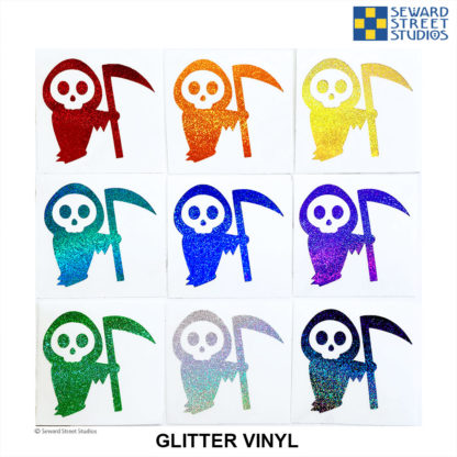 Seward Street Studios Death Glitter Vinyl Decal. Shown in several different colors.