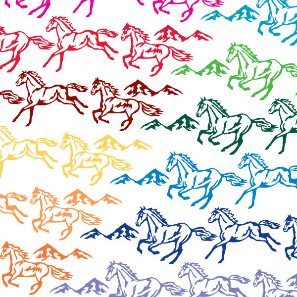Seward Street Studios Running Horses Vinyl Decal Set. Shown in several different colors.