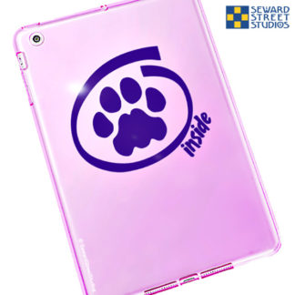 Seward Street Studios Cat Inside Vinyl Decal. Shown on a pink tablet