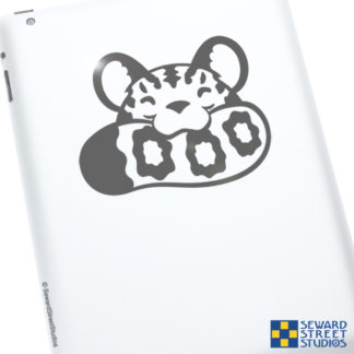 Seward Street Studios Snow Leopard Biting Tail Vinyl Decal