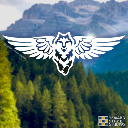 846 Seward Street Studios Winged Wolf Vinyl Decal Set. Shown on a mountains background